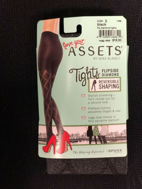 9b1cd4aaec0c6 Assets by SPANX Patterned Flip Diamond Shaping Tights 1105 Black Size 2