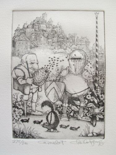 """CHARLES BRAGG /""""CAMELOT/"""" Hand Signed Limited Edition Art Etching CAMELOT SERIES"""