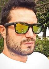 Yellow Green Mirror Matte Satin Black Classic Hipster Shades Sunglasses 9481