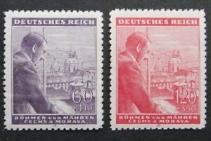 Germany-Nazi-1943-Stamps-MNH-Adolf-Hitler-54th-birthday-B-amp-M-WWII-Third-Reich-Ger