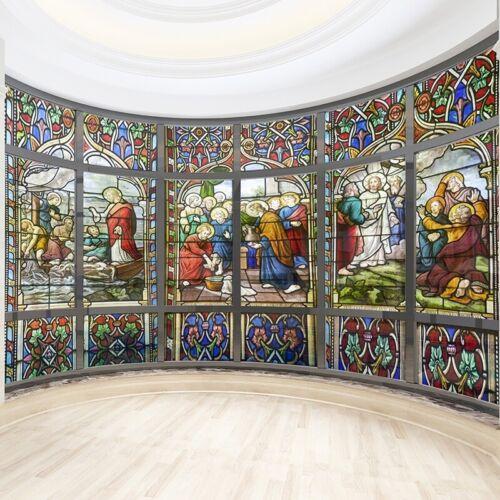 3D Statisch Haften Fenster Folie Durchsichtig Kirche Glas Closet Tür Aufkleber