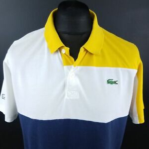 Lacoste-Mens-Polo-Shirt-6-MEDIUM-Short-Sleeve-Yellow-Regular-Fit-Cotton