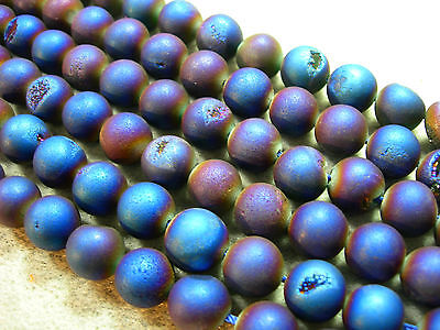 "Deep Blue / Purple Titanium Plated Agate Druzy Round beads 10mm - 8"" strand"