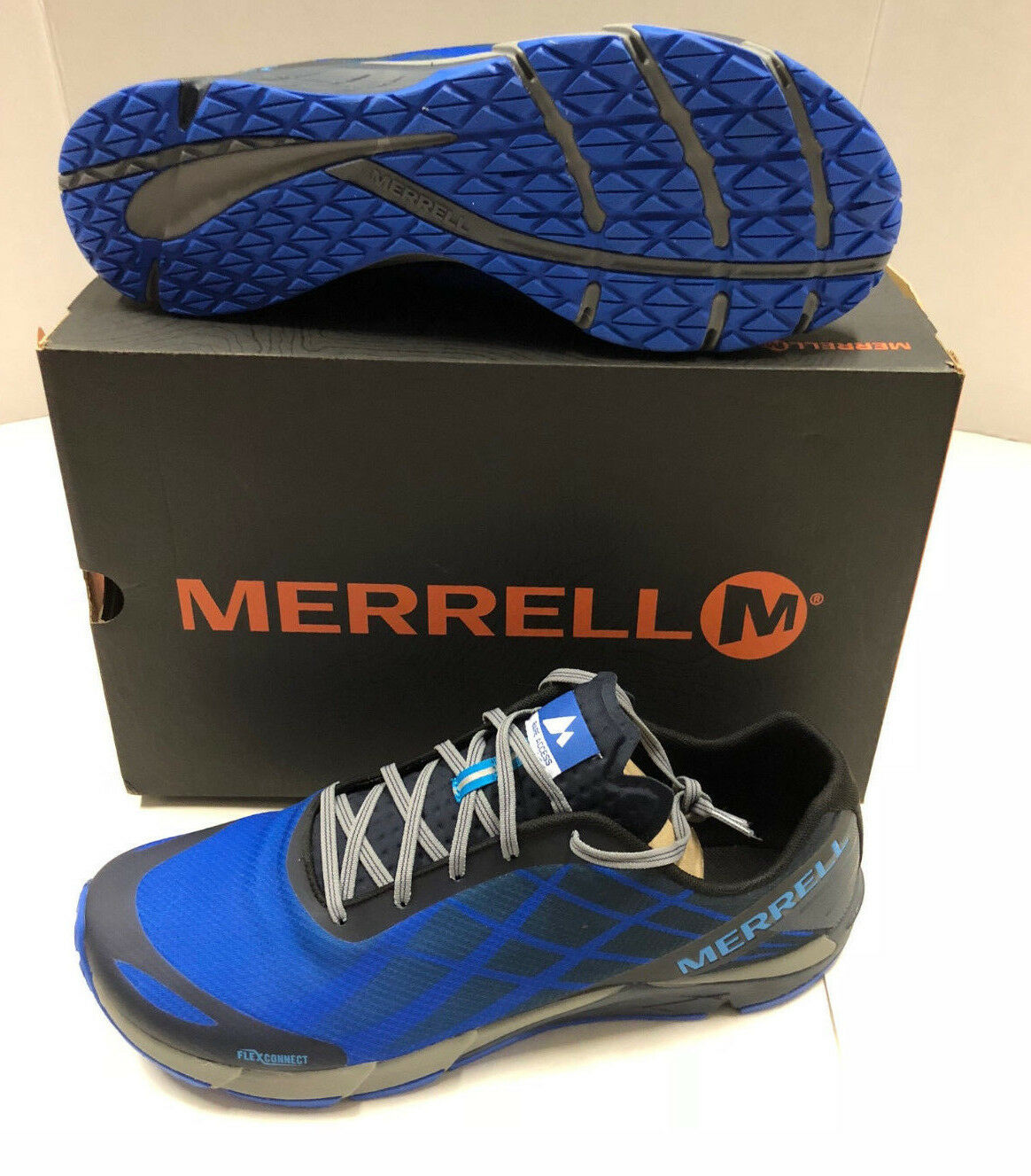 Nib Mens Merrell Bare Access Flex Royal Blau Blauberry Mesh Running schuhe 14