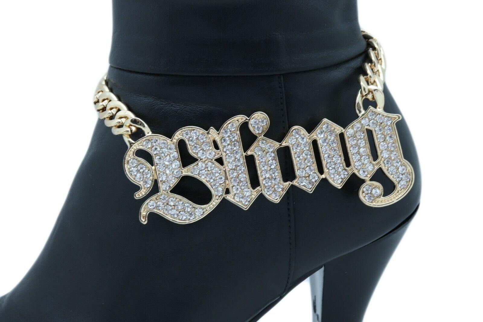Women Gold Metal Chain Bracelet Western Fashion BLING Shoe Charm Rap Strap Hood