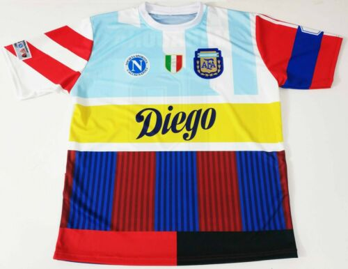Boca Juniors Barcelona Jersey Diego Maradona Mashup Shirt Argentina Napoli