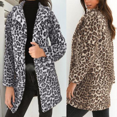Womens Open Front Cardigan Leopard Print Autumn Winter Long Sleeve Outwear Coats