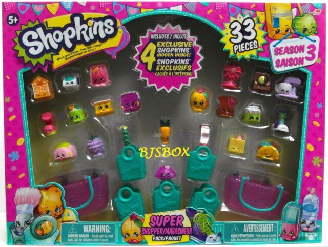 Shopkins Season 3 Super Shopper Pack 33 Pieces 4 Exclusive Carrot Fan New