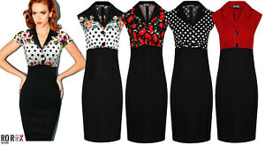 Rockabilly-Pinup-50s-Dress-Black-Polka-Floral-Cherries-Sexy-Party-Wiggle-Pencil