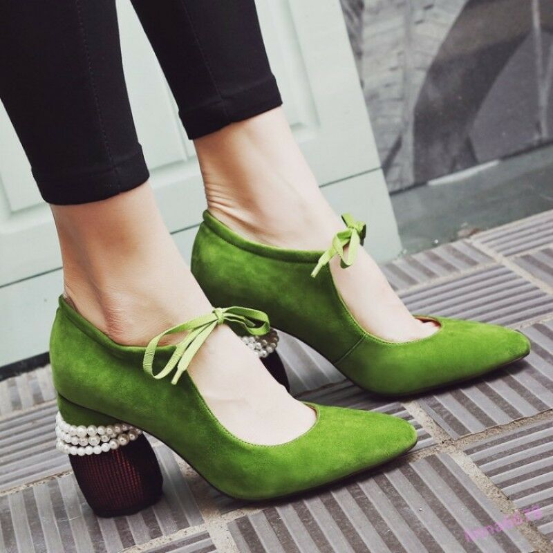 Senza tasse Mary Mary Mary Jane Donna  Hollow Out Pumps scarpe Lace Up Geometric Heel Pearl Sweet New  alla moda