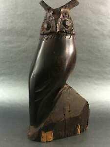 Vintage-Hand-Carved-Wood-Owl-Sculpture-Wildlife-Collection-Wood-Carved