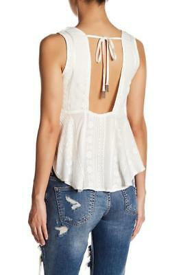 FREE PEOPLE~$78.00~WHITE~V-NECK~EMBROIDERED *OPEN BACK-TIE* HIPPIE TANK TOP~S