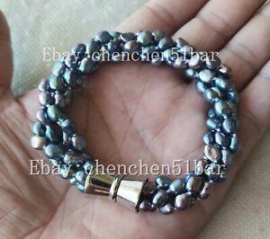 4-Straenge-4-6mm-Schwarz-Barock-Suesswasser-Perle-Twist-Armband-Magnetverschluss