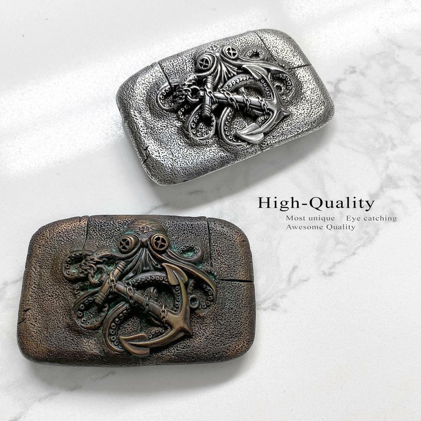 Antique Engraved Octopus Boat Anchor Belt Buckle fits 1-1/2