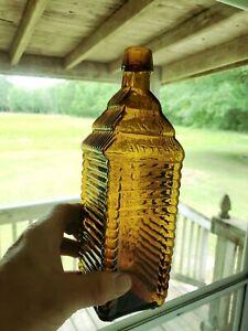 Yellow/ Honey Amber 6 Log St.drakes Plantation Bitters Bottle