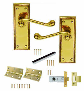 Lever Latch Door Handles Scroll Internal Pack Hinges /& 64mm Latch Electro Brass