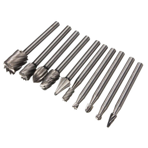 10pc HSS Routing Wood Rotary Grinding Bits Milling File Cutter Carve Tool