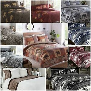 Asian African Indian Elephant Safari Duvet Quilt Cover Bedding Sets
