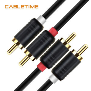 Cabletime-2RCA-Male-to-2RCA-Male-Stereo-Audio-Cable-Gold-Plated-for-Home-Theater