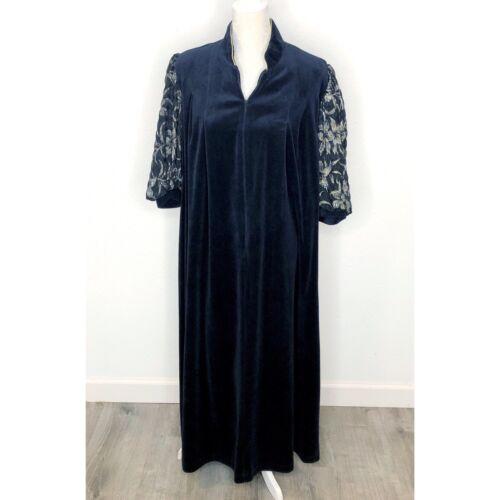 Vintage 1970s Laura Kidd Robe Navy Black Terry Clo