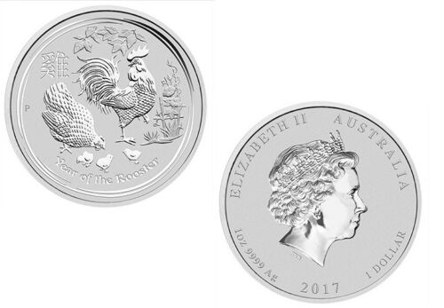 2017 Australia Lunar SRS II Year of the Rooster 1oz Silver Brilliant UNC Coin