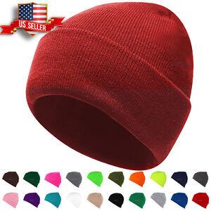 Beanie-Hat-Mens-Womens-Plain-Knit-Ski-Cap-Warm-Slouchy-Skull-Winter-Cuff-Thermal