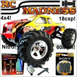 Details about Nitro RC Monster Truck Radio Remote Control 4WD 4x4 Big Fast  Petrol 60mph Car!