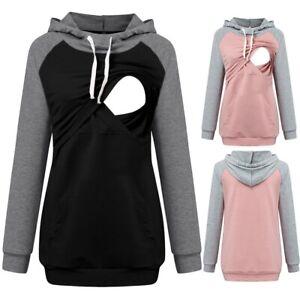 Womens Maternity Long Sleeve Hoodie Nursing Sweatshirts Top Breastfeeding Blouse