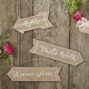 Boho wooden arrow direction hanging signs rustic wedding decorations image is loading boho wooden arrow direction hanging signs rustic wedding junglespirit Image collections