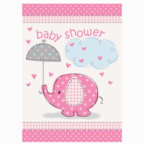 PINK UMBRELLAPHANTS Baby Shower Girl Party Invite INVITATIONS /& ENVELOPES x8