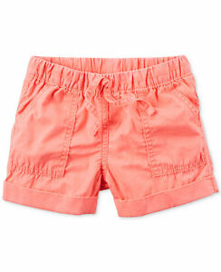 NWT Carter's Neon Orange Poplin Shorts Toddler Girls 4T $16