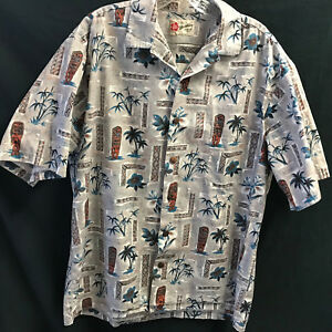 Hilo-Hattie-Hawaiian-Shirt-Tiki-L-Gray-Blue