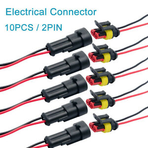 10X-Superseal-AMP-Tyco-2Pin-12V-Impermeable-Alambre-Electrico-Cable-Conector-Plug