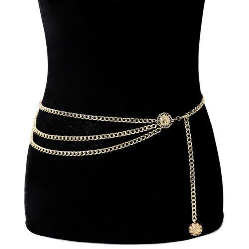 Women Metal Chain Retro Belt High Waist Hip Coin Charms Waistband Body Chain TWU