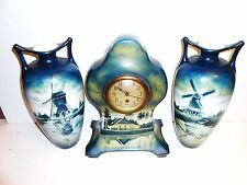 Brushed Jugendstil Societe Ceramique Maastricht Clock & Garnitures Art Nouveau