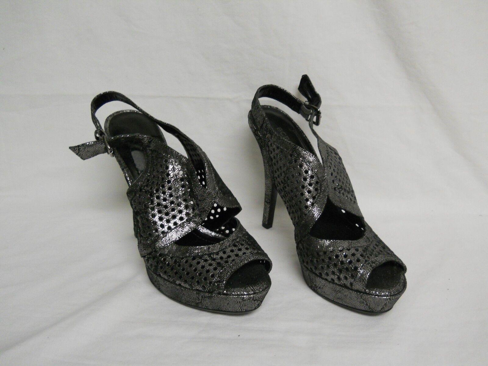 BCBGeneration BCBG New Womens Alana Leather Pewter Pebble Sandals 8.5 M shoes
