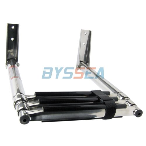 Stainless Boat Telescopic Ladder 3 Step Marine Transom Boarding Ladder