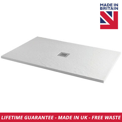 Luxury Slate Effect Rectangle 1000mm x 800mm Shower Tray In White Free Waste
