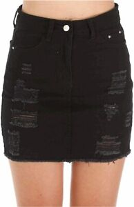 Haola Women's Casual Distressed Fray Hem Ripped A-Line, Black, Size X-Large KB4W