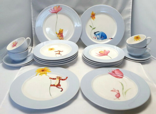 Winnie the Pooh Dinnerware Disney China 4 Complete Place Settings Blue 20 pc set & winnie the pooh dishes collection on eBay!