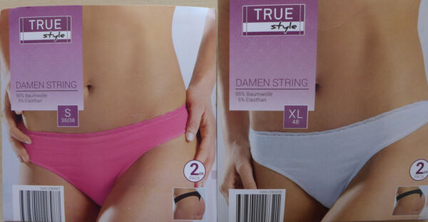 Damen String Tanga Slip 2er Pack Doppelpack Gr. S 36/38, M 40/42, L 44/46, XL 48