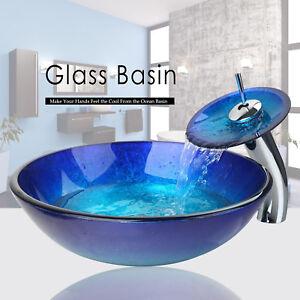 Salle de bain vasque en verre trempé évier avec Pop-Up des déchets ...
