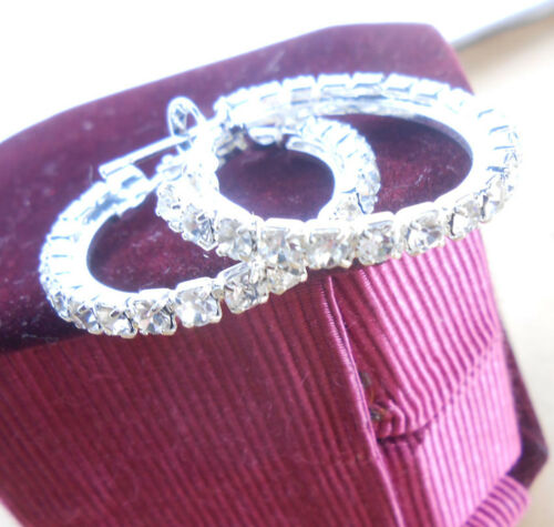 25MM-90MM Boucle Cristal Argent Sterling 925 plaque Circle Hoop Earring
