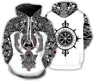 Viking Tattoo 3D Print Funny Mens Women Hoodie Sweatshirt Pullover tops Jumper Q