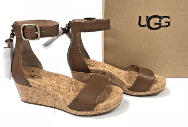 7a19dda0be7 UGG Zoe Chestnut Women's Tassel Open Toe Wedge Sandal 1019973 9.5