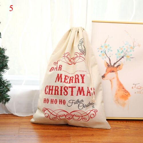 Details about  /Large Size Christmas Drawstring Bag Santa Merry Party Happy New Year Gifts Bags
