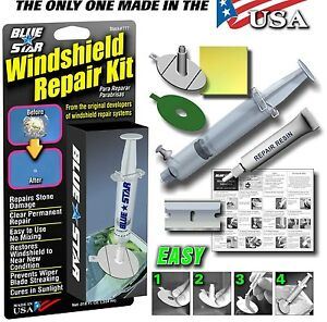 BLUE STAR DIY WINDSHIELD GLASS REPAIR KIT STONE DAMAGE CHIP MODEL # 777  | eBay