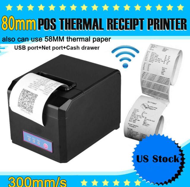 Hoin Pos Dot Receipt Paper Barcode Thermal Printer 80mm 58mm Usb Lan Us Plug