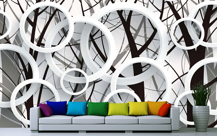 Mega 3D Round Branches Wall Paper Wall Print Decal Wall Deco Indoor Murals Wall