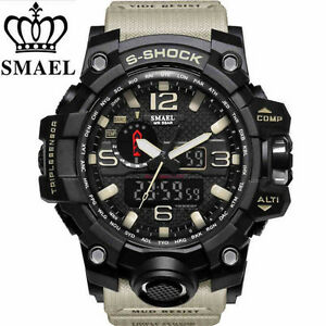 REGNO-Unito-Da-Uomo-smael-Tactical-Dual-Display-SHOCK-Digital-Sports-Divers